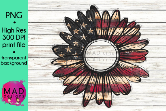American Flag - Rustic Sunflower Graphic Crafts By maddesigns718