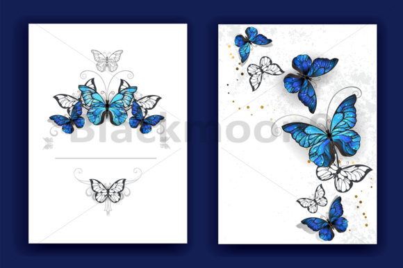 Brochure Design with Butterflies Morpho Graphic Print Templates By Blackmoon9