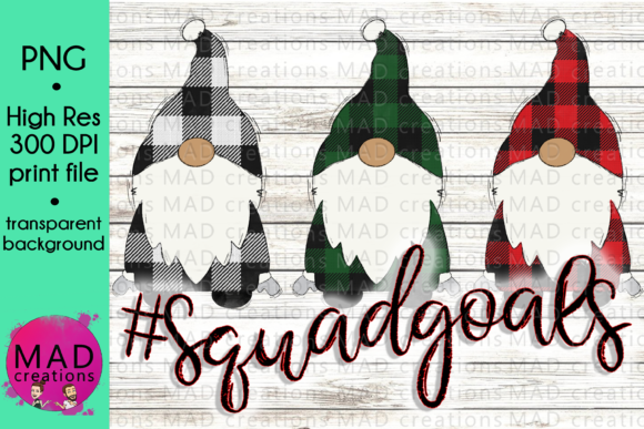 Squad Goals Christmas Gnome Plaid Gráfico Por maddesigns718