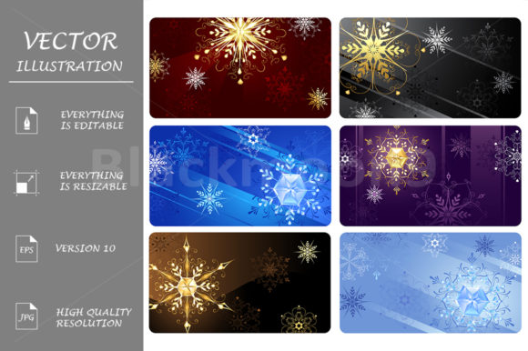 Business Cards with Snowflakes Graphic Graphic Templates By Blackmoon9