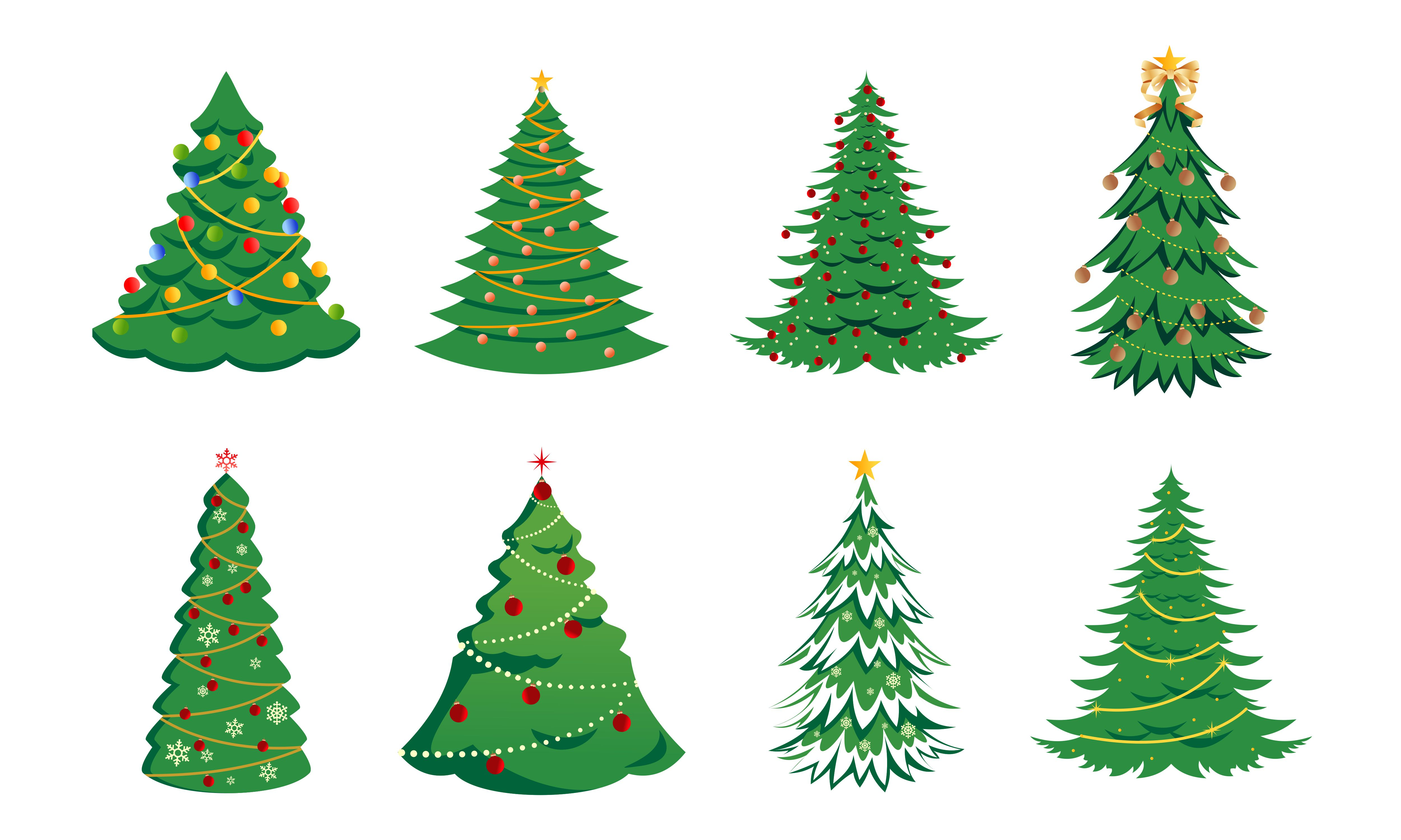 Download Free Set Christmas Tree With Decoration Logo Graphic By Deemka Studio for Cricut Explore, Silhouette and other cutting machines.