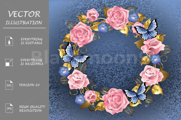 Circle of Pink Roses Graphic Illustrations By Blackmoon9