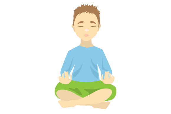 Download Free Cute Kid With Auburn Hair Meditating Svg Cut File By Creative for Cricut Explore, Silhouette and other cutting machines.
