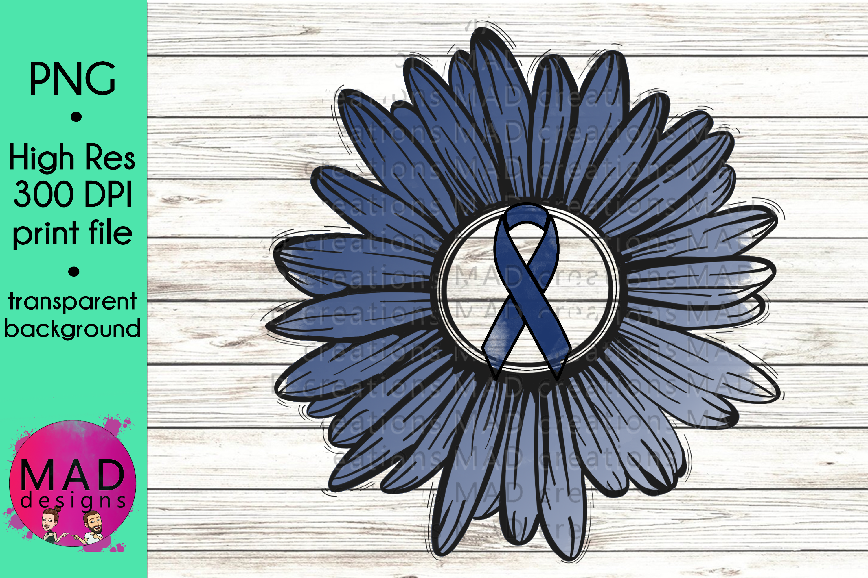 Download Free Dark Blue Awareness Ribbon Sunflower Graphic By Maddesigns718 for Cricut Explore, Silhouette and other cutting machines.