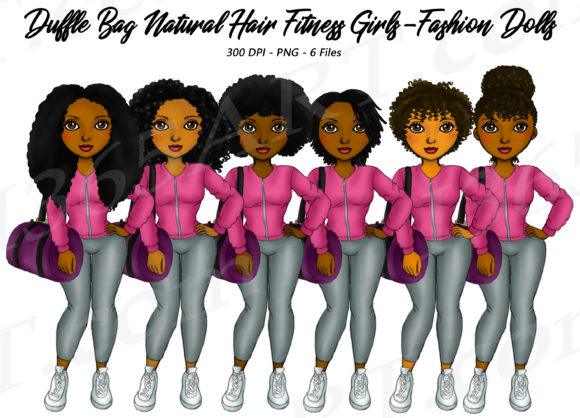 Natural Hair Fitness Bag Girls Clipart Graphic Illustrations By Deanna McRae - Image 1