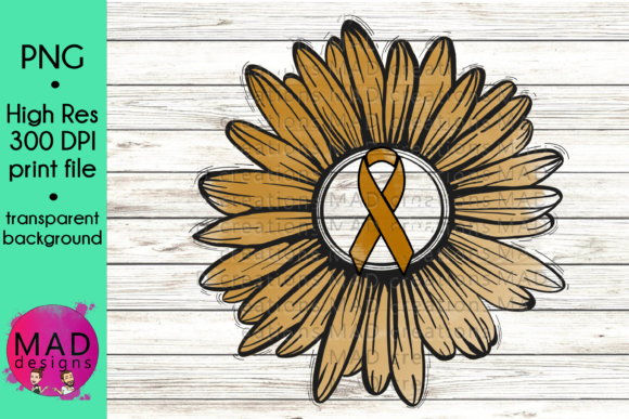 Gold Awareness Ribbon Rustic Sunflower Graphic Crafts By maddesigns718