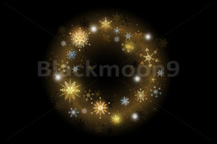 Download Free Golden Snowflakes On A Black Background Graphic By Blackmoon9 for Cricut Explore, Silhouette and other cutting machines.