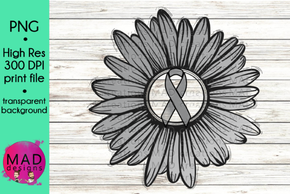 Gray Awareness Ribbon Rustic Sunflower Graphic Crafts By maddesigns718