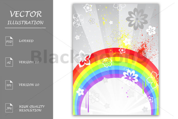 Gray Background with a Rainbow Graphic Illustrations By Blackmoon9