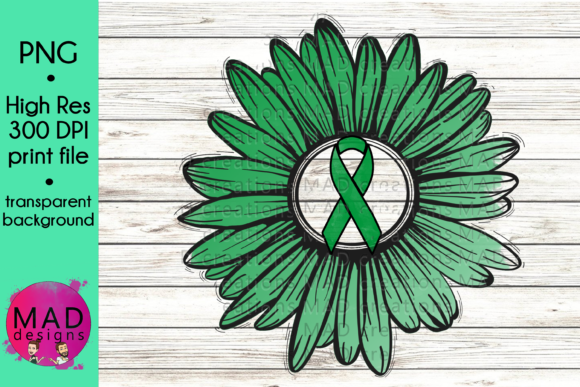 Green Awareness Ribbon Rustic Sunflower Graphic Crafts By maddesigns718