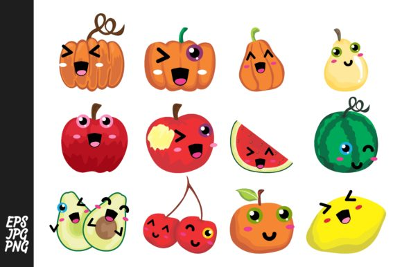 Print on Demand: Cute Fruit Cartoon Vector Bundle Graphic Crafts By Arief Sapta Adjie