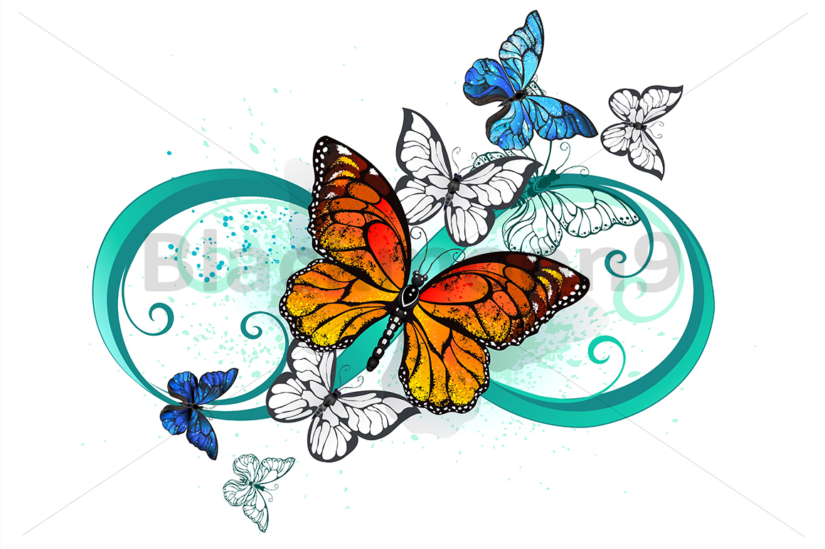 Download Free Infinity With An Orange Butterfly Graphic By Blackmoon9 for Cricut Explore, Silhouette and other cutting machines.