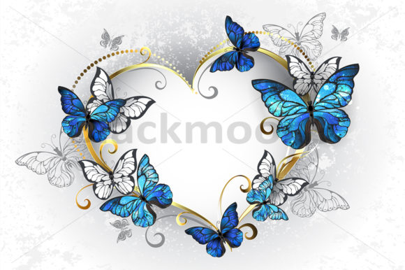 Jewelry Heart with Butterflies Morpho Graphic Illustrations By Blackmoon9