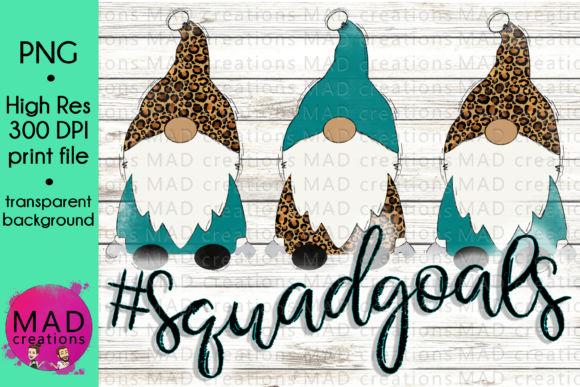 Squad Goals Christmas Gnomes Leopard Graphic