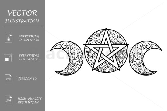 Download Free Line Art Pentagram Graphic By Blackmoon9 Creative Fabrica for Cricut Explore, Silhouette and other cutting machines.