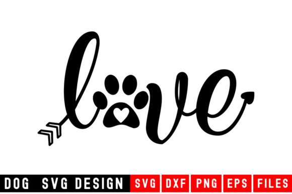 Download Free Dog Paw Love Graphic By Designdealy Com Creative Fabrica for Cricut Explore, Silhouette and other cutting machines.
