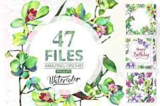 Orchid Green Flowers Watercolor Set Graphic By MyStocks