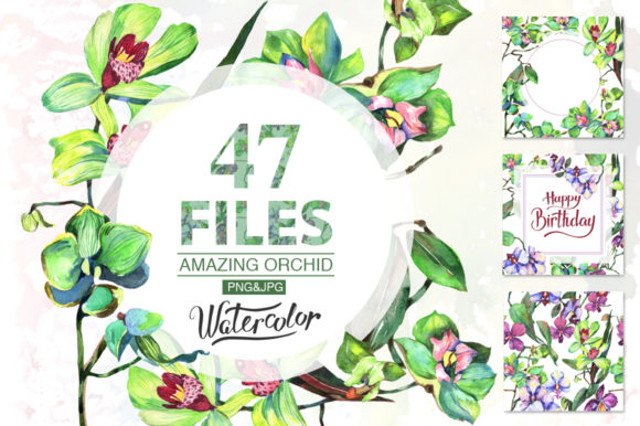 Print on Demand: Orchid Green Flowers Watercolor Set Graphic Illustrations By MyStocks