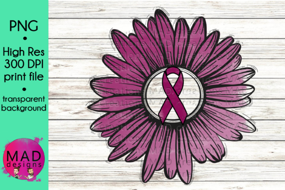 Maroon Awareness Ribbon Rustic Sunflower Graphic Crafts By maddesigns718