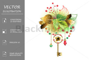 Mysterious Key with Autumn Leaves Graphic Illustrations By Blackmoon9