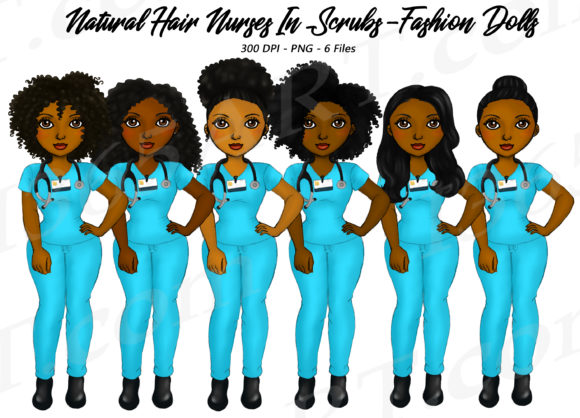 Natural Hair Black Nurse Clipart Graphic Illustrations By Deanna McRae