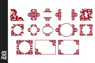 Print on Demand: Red Ornament Bundle Graphic Illustrations By Arief Sapta Adjie