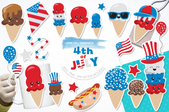 Print on Demand: 4th of July Graphic Illustrations By Prettygrafik