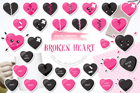 Download Free Broken Heart Graphic By Prettygrafik Creative Fabrica for Cricut Explore, Silhouette and other cutting machines.