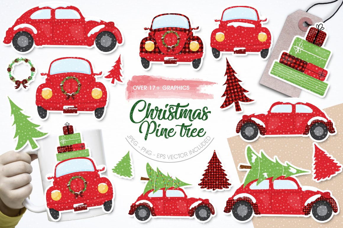 Download Free Christmas Pine Tree Graphic By Prettygrafik Creative Fabrica for Cricut Explore, Silhouette and other cutting machines.