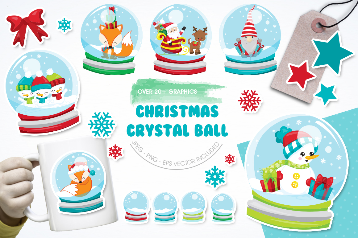 Download Free Christmas Crystal Ball Graphic By Prettygrafik Creative Fabrica for Cricut Explore, Silhouette and other cutting machines.
