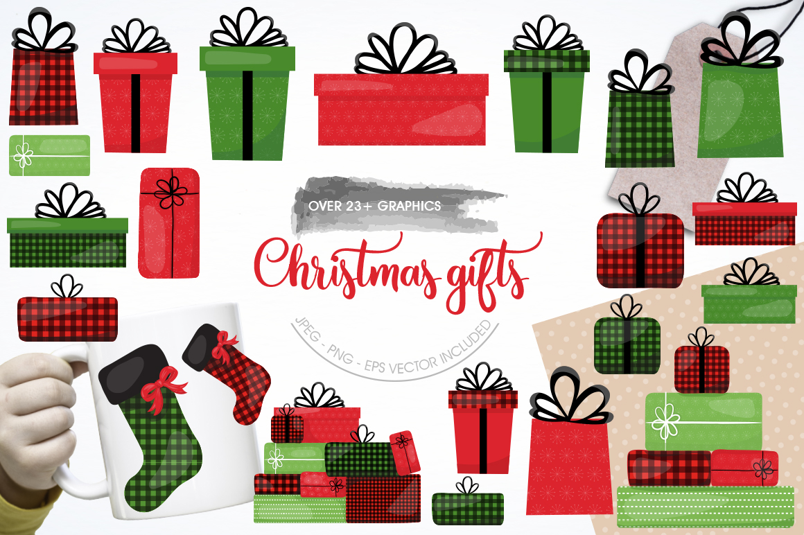 Download Free Christmas Gift Graphic By Prettygrafik Creative Fabrica for Cricut Explore, Silhouette and other cutting machines.