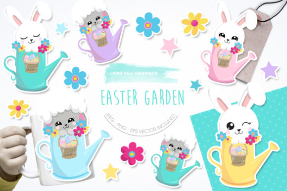 Print on Demand: Easter Garden Graphic Illustrations By Prettygrafik