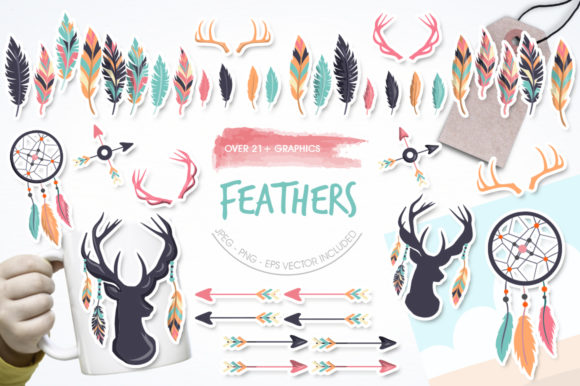 Print on Demand: Feathers Graphic Illustrations By Prettygrafik