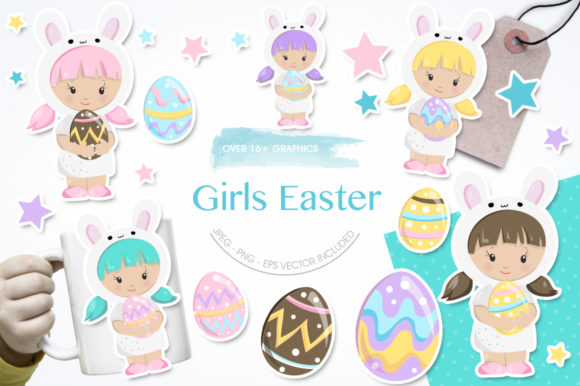 Print on Demand: Girl Easter Graphic Illustrations By Prettygrafik