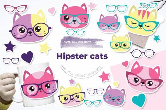 Print on Demand: Hipster Cats Graphic Illustrations By Prettygrafik