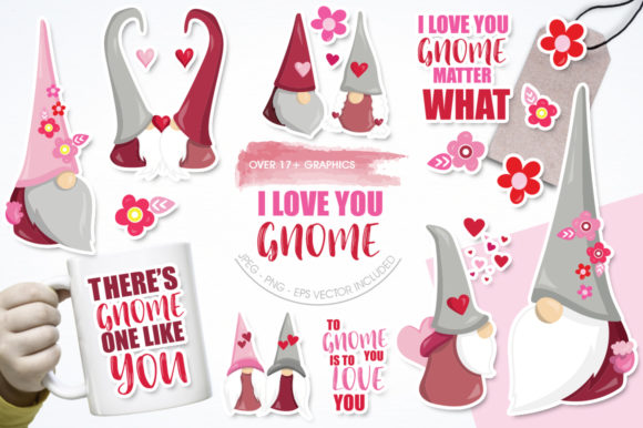 Print on Demand: I Love You Gnome Gráfico Ilustraciones Por Prettygrafik