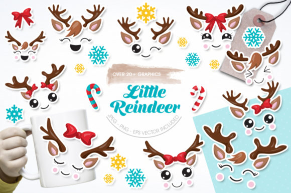 Download Free Little Reindeer Graphic By Prettygrafik Creative Fabrica for Cricut Explore, Silhouette and other cutting machines.