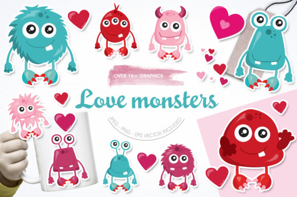 Print on Demand: Love Monster Graphic Illustrations By Prettygrafik - Image 1