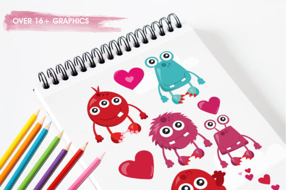 Print on Demand: Love Monster Graphic Illustrations By Prettygrafik - Image 3