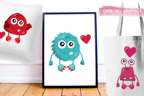Print on Demand: Love Monster Graphic Illustrations By Prettygrafik - Image 5