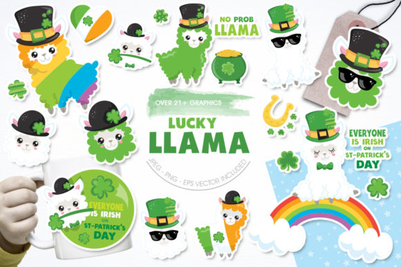 Print on Demand: Lucky Llama Graphic Illustrations By Prettygrafik - Image 1