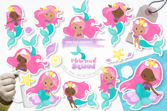 Print on Demand: 15 Mermaid Squad Graphic Illustrations By Prettygrafik - Image 1