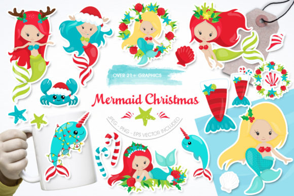 Christmas Graphic.Mermaid Christmas