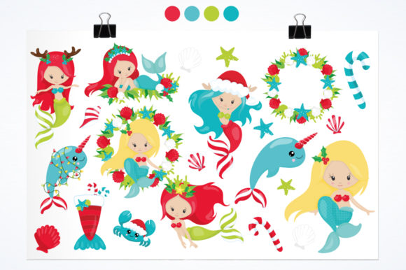 Download Free Mermaid Christmas Graphic By Prettygrafik Creative Fabrica for Cricut Explore, Silhouette and other cutting machines.