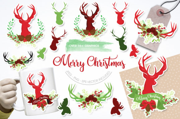 Print on Demand: Merry Christmas Graphic Illustrations By Prettygrafik