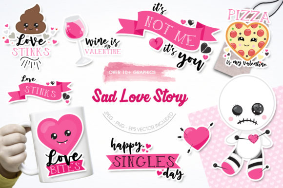 Print on Demand: Sad Love Story Graphic Illustrations By Prettygrafik - Image 1