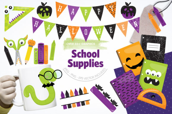 Print on Demand: 33 School Supplies Graphic Illustrations By Prettygrafik