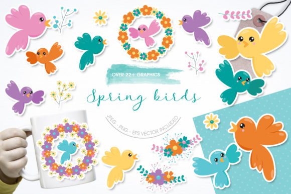 Print on Demand: 22 Spring Birds Graphic Illustrations By Prettygrafik