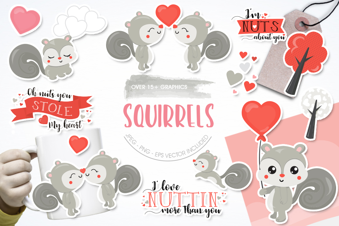 Download Free Squirrels Graphic By Prettygrafik Creative Fabrica for Cricut Explore, Silhouette and other cutting machines.