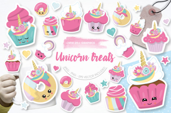 Download Free Unicorn Treats Graphic By Prettygrafik Creative Fabrica for Cricut Explore, Silhouette and other cutting machines.
